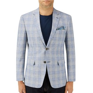 Skopes Blue Cataldi Linen Blend Check Jacket