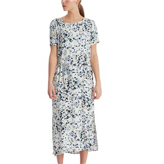 ICHI Blue/White Cannap Midi Dress