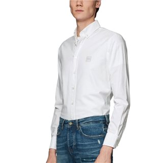 BOSS White Oxford Cotton Slim Fit Shirt