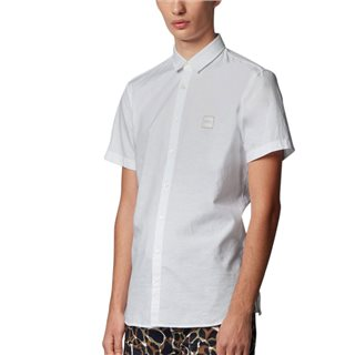 BOSS White Oxford Cotton Slim Short Sleeve Shirt