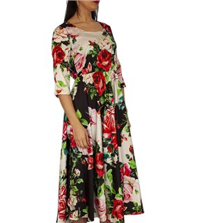 Manuela Riva Red Flower Print Maxi Dress