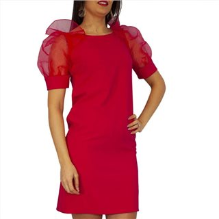 Manuela Riva Red Sheer Sleeve Midi Dress