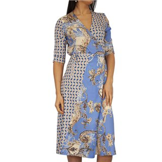 Kate & Pippa Blue Firenze Wrap Tie Midi Dress