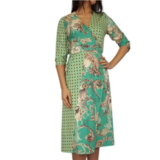 Kate & Pippa Green Firenze Wrap Tie Midi Dress