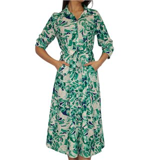 Kate & Pippa Green Luca Floral Shirt Midi Dress