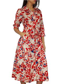 Kate & Pippa Red Luca Floral Shirt Midi Dress