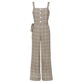 Tiffosi Beige Checkered Jumpsuit With Belt