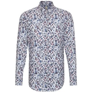 Jacques Britt White/Blue Paisley All Over Print Shirt