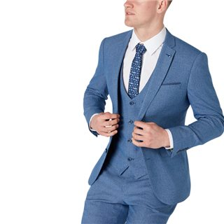 Remus Uomo Blue Slim Fit Houndstooth 3-Piece Suit