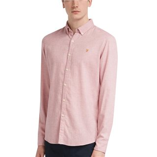 Farah Cool Pinkkreo Slim Fit Brushed Cotton Shirt