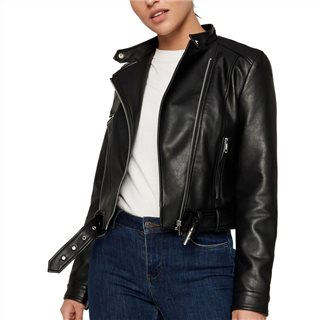 Vero Moda Black Short Coated Leather Jacket