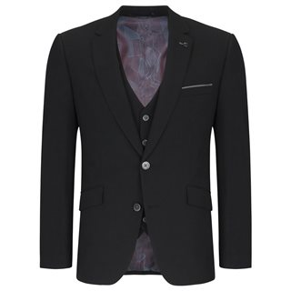 Remus Uomo Black Tapered 3-Piece Suit