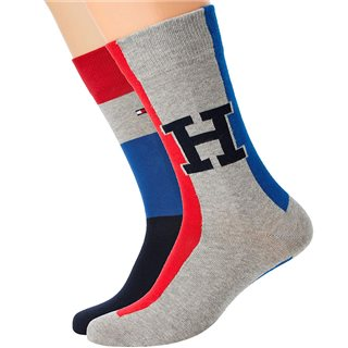 Tommy Accessories White/Blue/Red Big H Block 2-Pack Socks