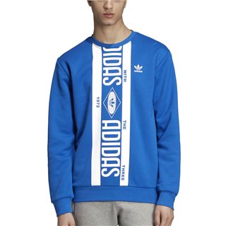 adidas Originals Blue Printed Scarf Crewneck Sweater
