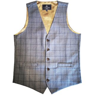 LLoyd Aintree Smith Blue Plaid Modern Fit Waistcoat
