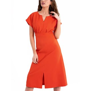 Closet London Orange Kimono Midi A-Line Dress