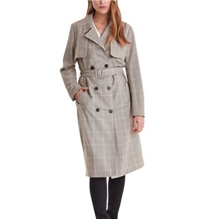 ICHI Kacy Check Trench Coat