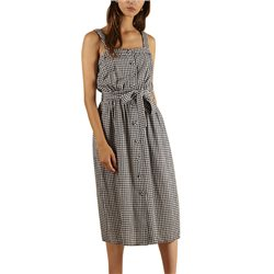 FRNCH Paris Blue Augstina Check Midi Dress