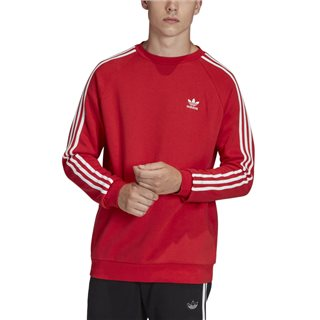 adidas Originals Lush Red 3-Stripe Crew Neck Sweater