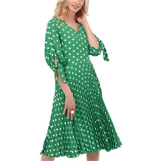 Closet London Green V-Neck Pleated Dress