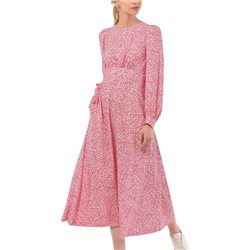 Closet London Pink Puff Sleeve Sweetheart Neckline A-Line Dress
