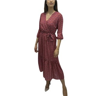 Kate & Pippa Red Boho Wrap Midi Dress