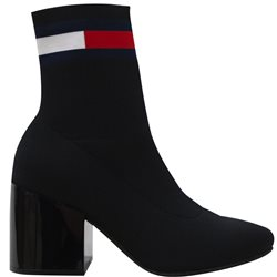Tommy Hilfiger Black Flag Mid Heel Sock Boot
