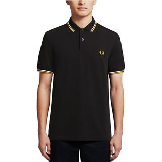 Fred Perry Black/White/Gold M3600 Twin Tipped Polo