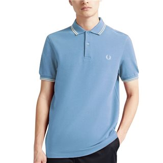 Fred Perry Sky/White M3600 Regular Twin Tipped Polo