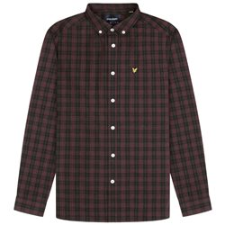 Lyle & Scott Jet Black/Burgundy Check Poplin Shirt