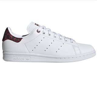adidas Originals White/Burgundy Stan Smith Trainers