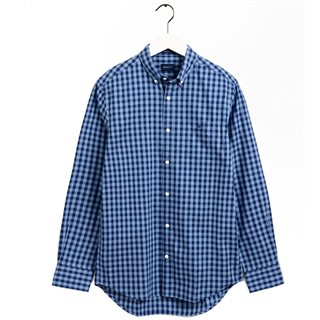 Gant Pacific Blue Regular Fit Striped Gingham Oxford Shirt