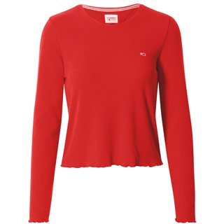 Tommy Jeans Deep Crimson Rib-Knit Long Sleeve Cropped Fit T-Shirt