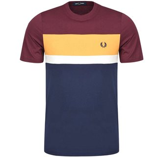 Fred Perry Mahogany Colour Block T-Shirt