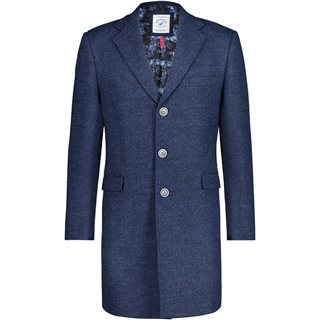 Fish Named Fred Blue Wool Overcoat