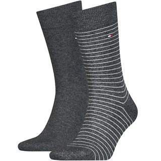 Tommy Hilfiger Anthracite Small Stripe 2-Pack Socks