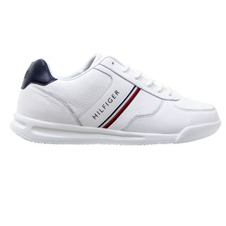Tommy Hilfiger White Lightweight Leather Mix Trainers
