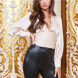Lavish Alice Champagne Ruby Holley Balloon Sleeve Tie Back Satin Top