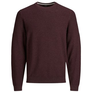 Jack And Jones Red Mahogany Knitted Crew Jumper