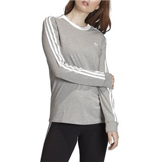 adidas Originals Grey 3-Stripes Long-Sleeve Top