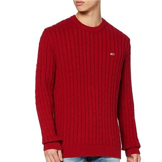 Tommy Jeans Wine Red Essential Organic Cotton Cable Knit Sweater