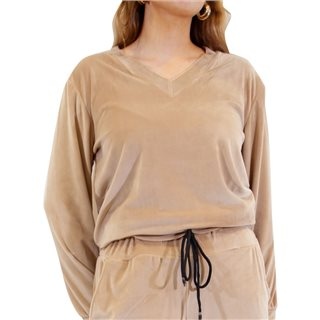 Kate & Pippa Beige Ravello Luxe Velour Sweat Top