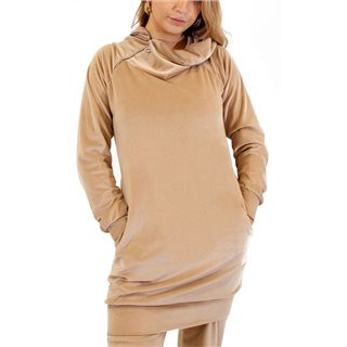 Kate & Pippa Beige Tunics Suede Funnel Neck Sweat Top
