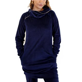 Kate & Pippa Navy Tunics Suede Funnel Neck Sweat Top