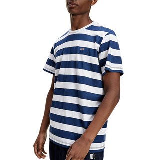 Tommy Jeans Navy Heather Stripe Organic Cotton T-Shirt