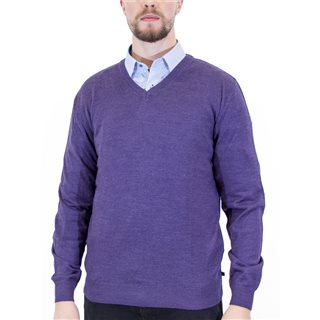 Benetti Grape Merino Wool V-Neck Knit