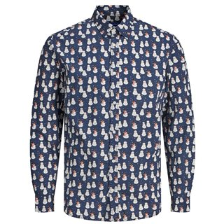 Jack And Jones Navy Snowman Slim Christmas Shirt