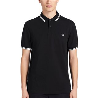 Fred Perry Black/White  M3600 Twin Tipped Polo