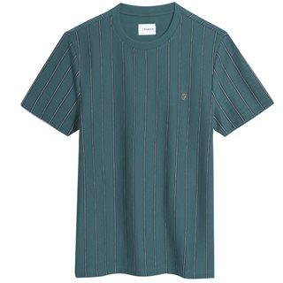 Farah Dark Teal Beatty Slim Fit Striped T-Shirt