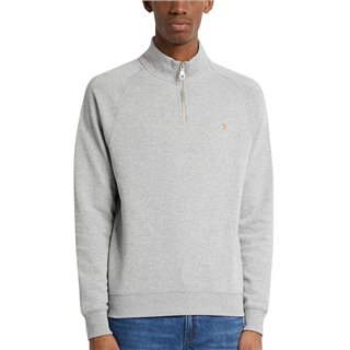 Farah Light Grey Marl Jim Organic Cotton Quarter Zip Sweatshirt